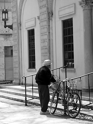 Old man with bicycle